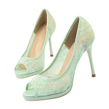 Load image into Gallery viewer, Lace Woman Pumps high heels sandals women Peep Toe Shallow Embroider Woman Shoes Sexy Party Wedding Ladies Shoes - moonaro