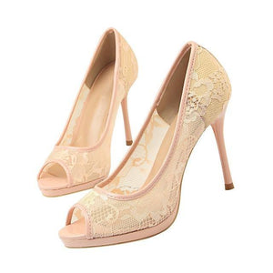 Lace Woman Pumps high heels sandals women Peep Toe Shallow Embroider Woman Shoes Sexy Party Wedding Ladies Shoes - moonaro