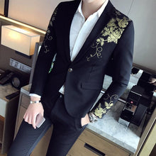 Load image into Gallery viewer, Gold Black Blazer Flower Gold Print Party Wedding Festival Stylish Blazers For Men Stage Costumes For Singers Slim Fit  Blazer