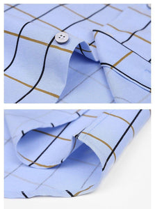Men's Short Sleeve Button-down Plaid Dress Shirts Sky-blue Male Smart Casual Slim-fit Comfort Soft Modal&Cotton Thin Tops Shirt
