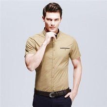 Load image into Gallery viewer, Men's Casual Shirt Summer New Brand Solid Short Sleeve Fit Slim Male Shirt Cotton Thin Camisas Social Masculina