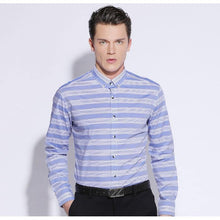 Load image into Gallery viewer, Men's Sky-blue/White Horizontal Stripes Shirt No-pocket Long Sleeve Standard-fit Comfy Soft 100% Cotton Button-down Dress Shirts