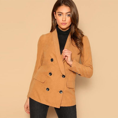 Khaki Shawl Collar Double Breasted Blazer Women Button Long Blazer