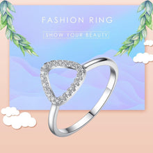 Load image into Gallery viewer, 2PCS 925 Sterling Silver Rings Finger Big Wedding Band Party Crystal Heart Ring for Women Fashion Jewelry Gift - moonaro