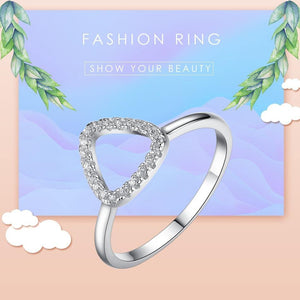 2PCS 925 Sterling Silver Rings Finger Big Wedding Band Party Crystal Heart Ring for Women Fashion Jewelry Gift - moonaro