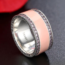 Load image into Gallery viewer, 100% Real 925 Sterling Silver Rings for Women Simple Classic Pink Enamel Wedding Band Ring Female 2019 Fashion Jewelry - moonaro