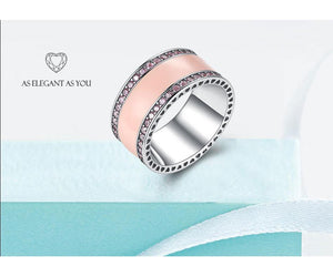100% Real 925 Sterling Silver Rings for Women Simple Classic Pink Enamel Wedding Band Ring Female 2019 Fashion Jewelry - moonaro
