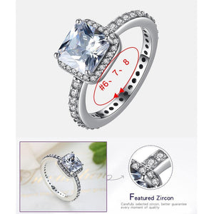 Luxury Shiny AAA Austrian Cubic Zirconia Eternity Square Rings Fashion 925 Sterling Silver Ring Wedding Engagement Gift