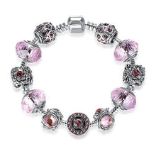 Load image into Gallery viewer, Antique Silver Charm Bracelets 3 Colors Crystal Glass Beads Strand Bracelet
