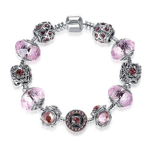 Antique Silver Charm Bracelets 3 Colors Crystal Glass Beads Strand Bracelet