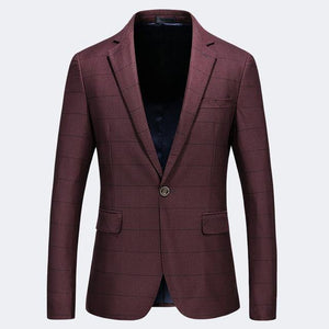 Burgundy Blue Plaid Blazer Men Slim Fit Single Button One Split Blazer Uomo Stylish Mens Casual Blazers 5XL Spring Autumn
