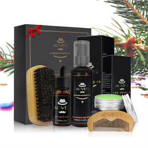 Men Beard Oil Kit With Moustache Shampoo 100ml+ Comb + Brush + Oil 30ml+Cream 30g Kit Male Beard Care Set