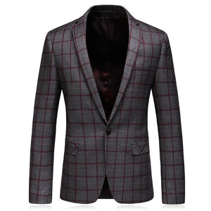 Slim Fit Mens Plaid Blazer Jacket Spring Autumn 5XL Big Size Blazer For Men High Quality Mens Blazers Casual Business Wear