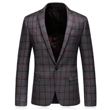 Load image into Gallery viewer, Slim Fit Mens Plaid Blazer Jacket Spring Autumn 5XL Big Size Blazer For Men High Quality Mens Blazers Casual Business Wear