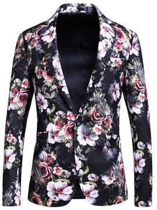 Floral Print Blazer Men Rose Flower Pattern Stage Party Prom Blazer For Men 5XL Slim Fit Mens Blazers Casual