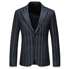 Load image into Gallery viewer, Green Striped Blazer Men New Arrival Slim Fit Man Blazer Casual Suit Jacket Brand Fashion Wedding Blazers Prom Party Wear