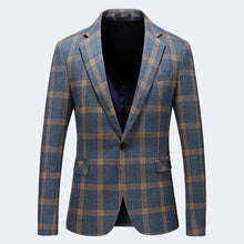 Load image into Gallery viewer, Blazer Men Slim Fit 2019 Spring Autumn Mens Plaid Blazer Plus Size Casual Blazers For Men Business Formal Office Jacket - moonaro