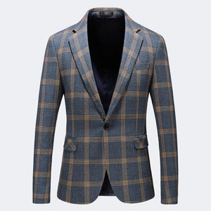 Blazer Men Slim Fit 2019 Spring Autumn Mens Plaid Blazer Plus Size Casual Blazers For Men Business Formal Office Jacket - moonaro