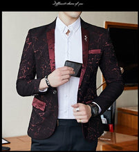 Load image into Gallery viewer, Navy Blue Black Burgundy Blazer Men Classic Fashion Mens Printed Blazer Jacket Elegant One Button Slim Fit Casual Blazers