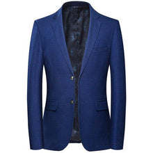 Load image into Gallery viewer, Wool Blazer Men Autumn Slim Fit Men's Plaid Blazer Jacket Brand High Quality Blue Purple Blazers Casual Hombre