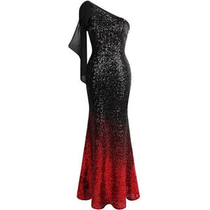 Women's One Shoulder Pleated Splicing Gradient Sequin Contrast Color Black Red Split Party Dress