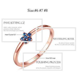Authentic 100% 925 Sterling Silver Rose Gold Flower Ring Blue Clear CZ Crystal Finger Rings