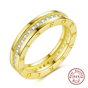 Wedding Ring For Women Classical Pave AAA+ Cubic Zirconia LOVE IS FOREVER Rose Gold Finger Rings Fashion Jewelry