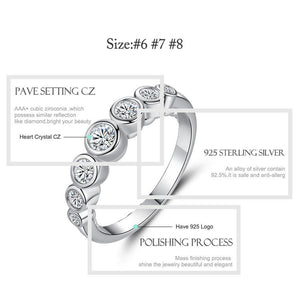 Valentines Gift Real 925 Sterling Silver Ring Sparkling Clear CZ Crystal Finger Ring for Women Wedding Engagement Jewelry