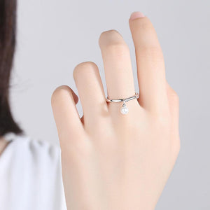 Genuine 925 Sterling Silver Twisted Knot & Simulated Pearl Finger Rings for Women Authentic Silver Rings Wedding Jewelry