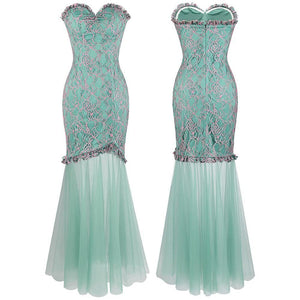 Strapless Floral Lace Illusion Long Evening Dresses Light Green