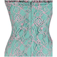 Load image into Gallery viewer, Strapless Floral Lace Illusion Long Evening Dresses Light Green