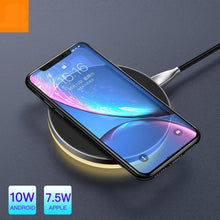 Load image into Gallery viewer, 10W Qi Wireless Light Charger For iPhone X Xr Xs Max 8 Fast Charging Wireless Pad For Samsung S9 S8+ Huawei Mate 20 Pro