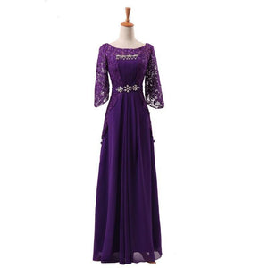 party dress evening dresses Vestido de Festa gown half lace sleeves long gown prom frock