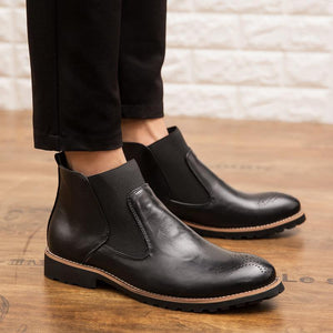 Genuine Leather Brogue Style Ankle Boots Breathable Formal Boots Man High Top Casual Shoes