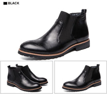 Load image into Gallery viewer, Genuine Leather Brogue Style Ankle Boots Breathable Formal Boots Man High Top Casual Shoes