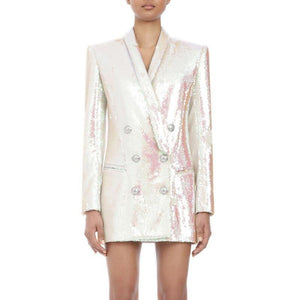 Women White Glitter Blazer Coat Fashion Slim V Neck Sexy OL Style Day Jacket Blazer