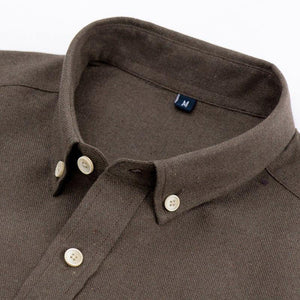 Men's Leisure Long Sleeve Solid Brushed Dress Shirts Button-through Chest Pocket Box-pleat Back Yoke Casual Slim-fit Tops Shirt