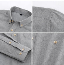 Load image into Gallery viewer, Men's Leisure Long Sleeve Solid Brushed Dress Shirts Button-through Chest Pocket Box-pleat Back Yoke Casual Slim-fit Tops Shirt