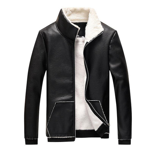 2019 Men Leather Jacket Casual Slim PU Leather Thicken Coat - moonaro