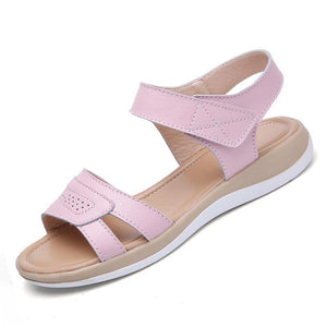 Women Shoes Summer Buckle Strap Flat Heel Genuine Leather Casual Ankle Strap Shoes Woman Beach Sandals Slippers