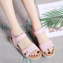 Load image into Gallery viewer, Women Shoes Summer Buckle Strap Flat Heel Genuine Leather Casual Ankle Strap Shoes Woman Beach Sandals Slippers