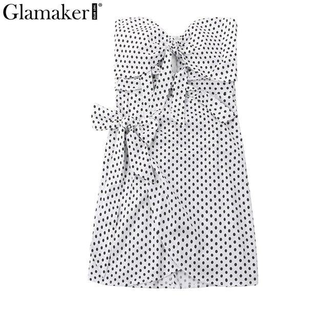 Polka dot bow white beach dresses for Women hollow out strapless summer dress Ladies elegant party club dress