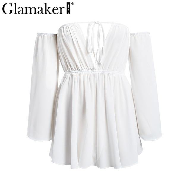 Sexy off shoulder deep v-neck dress Women chiffon high waist beach dress Female summer white backless club short dress