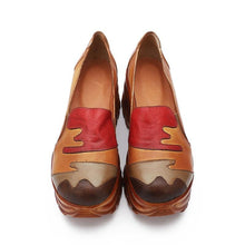 Load image into Gallery viewer, Women Pumps Shoes 2019 Multi-color Hand-Painted Patchwork Female High Platform Heel Shoes Genuine Leather Ladies Wedges Shoes - moonaro