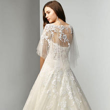 Load image into Gallery viewer, beaded Wedding Dress elegant A-line lace Floor Lengths Long sleeves - moonaro