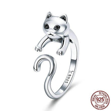 Load image into Gallery viewer, 100% Real 925 Sterling Silver Cute Pet Cat Finger Rings Latest Luxury Popular Cat Openings Ring Style Excellent Creative
