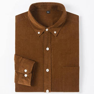 Men's Long Sleeve Standard-fit Solid Corduroy Cotton Shirt Single Patch Pocket Casual Khaki Workwear Button-down Dress Shirts - moonaro