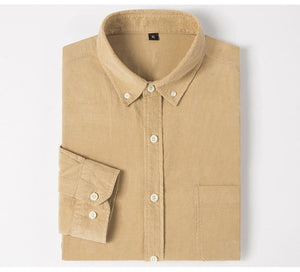 Men's Long Sleeve Standard-fit Solid Corduroy Cotton Shirt Single Patch Pocket Casual Khaki Workwear Button-down Dress Shirts