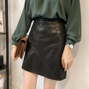 High Waist Leather Mini A-Line Skirt Casual Solid Empire PU Skirts Grey Black Khaki Colors S-XL Size New Fashion