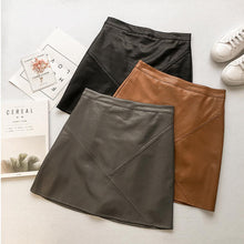 Load image into Gallery viewer, High Waist Leather Mini A-Line Skirt Casual Solid Empire PU Skirts Grey Black Khaki Colors S-XL Size New Fashion